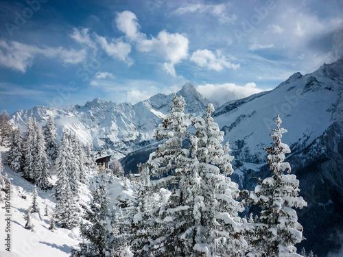 Fotobehang Gletsjers A snowy mountain scene in the French Alps