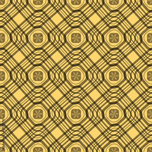 69a168f318 Seamless tartan plaid pattern. Traditional checkered fabric texture in  palette of pink, cream and dark yellow.