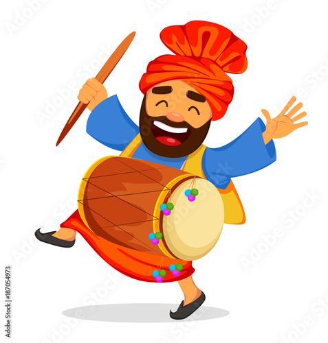 Obraz na plátne . Funny dancing Sikh man with drum