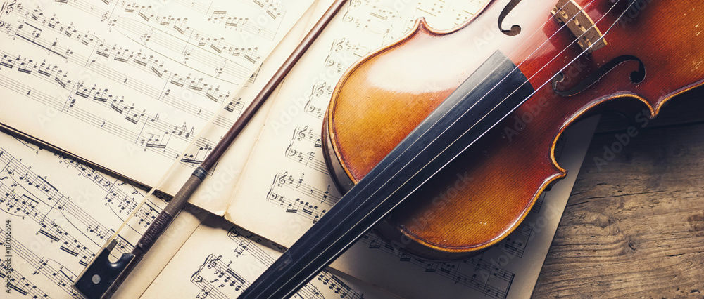 Fototapeta old violin and notes, banner size