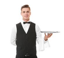 Waiter With Metal Tray On Whit...