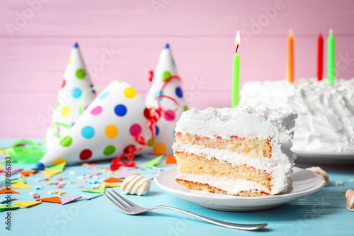Cool Piece Of Birthday Cake With Candle On Table Buy This Stock Photo Personalised Birthday Cards Petedlily Jamesorg