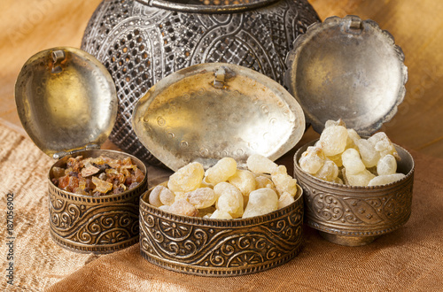 Photo Frankincense is an aromatic resin, used for religious rites, incense and perfumes
