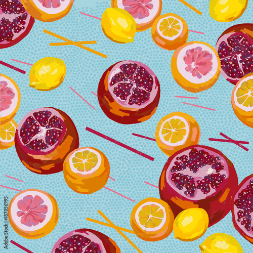 Illustration of citrus fruit Wallpaper Mural