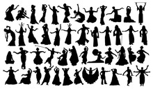 Set Of Oriental Dance Silhouet...