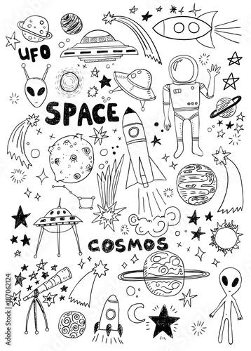 In de dag Boho Stijl Hand drawn space doodle set