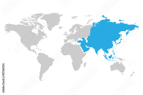 Simple World Map Flat. Asia continent blue marked in grey silhouette of World map  Simple flat vector illustration