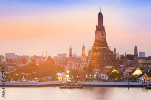 Arun temple river front with after sunset sky background, Thailand historic Land Canvas Print