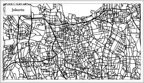 Fotomural Jakarta Indonesia City Map in Black and White Color.