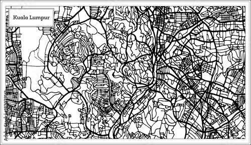 Canvas Print Kuala Lumpur Malaysia City Map in Black and White Color.
