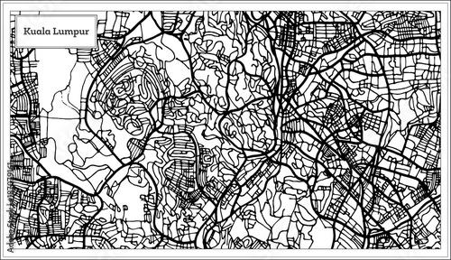 Obraz na plátně Kuala Lumpur Malaysia City Map in Black and White Color.