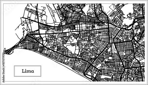 Fotografie, Obraz Lima Peru City Map in Black and White Color.