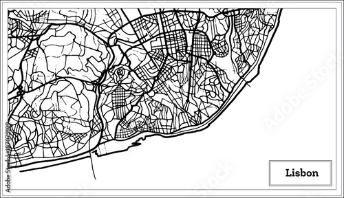 Lisbon Portugal Map in Black and White Color. Canvas Print