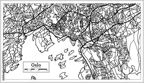 Fotografie, Tablou  Oslo Norway Map in Black and White Color.