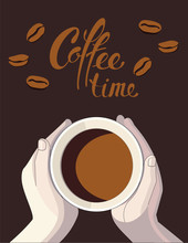 Cup Of Coffee In Hands And Cof...