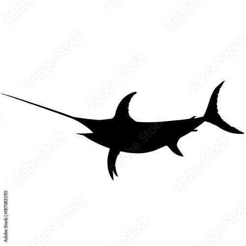 Sword fish Silhouette Vector Graphics Poster