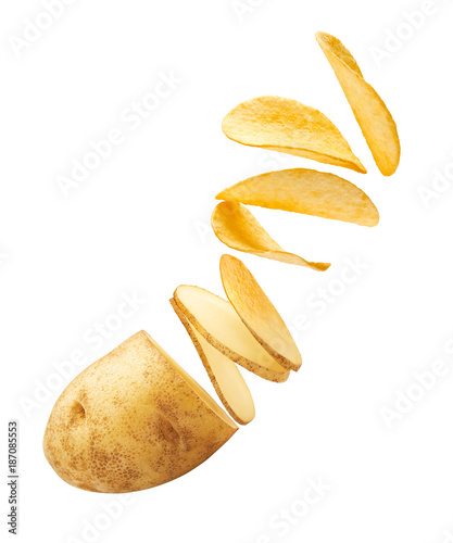 Flying potato slices turning into chips