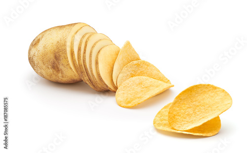 Potato slices turning into chips
