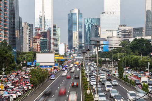 Rush hour in Jakarta business district in Indonesia capital city