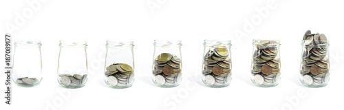 Fotografía  Saving money and account growth business concept. Coin thai baht.