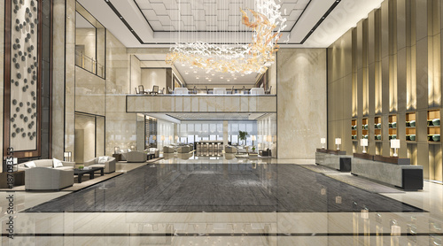 Fotografía 3d rendering luxury hotel reception hall and lounge restaurant