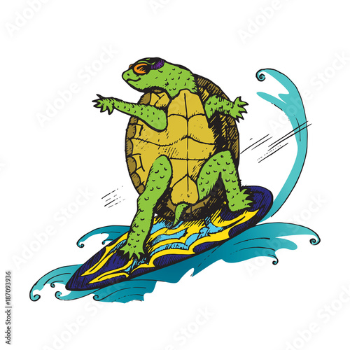Fotografie, Obraz  Cartoon character of turtle in glasses on colorful surfboard on wave, hand drawn