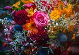 Fototapeta Kwiaty - Beautiful, vivid, colorful mixed flower bouquet still life detail