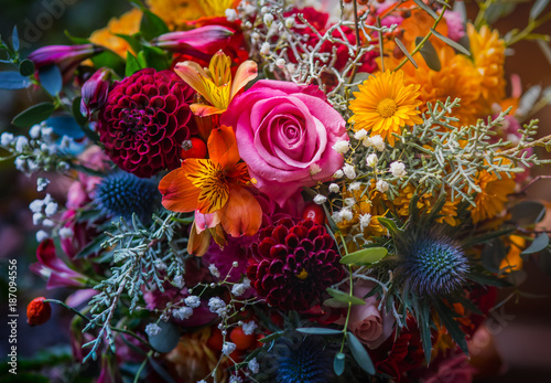 Fotobehang Bloemen Beautiful, vivid, colorful mixed flower bouquet still life detail