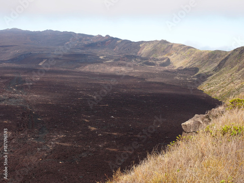 Staande foto Chocoladebruin The surface of the Sierra Negra volcano resembles the lunar landscape, Isabela Island, Galapagos, Ecuador