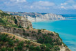 Limestone cliffs near Cape Kidnappers Golf course, with views of South Pacific Ocean, New Zealand