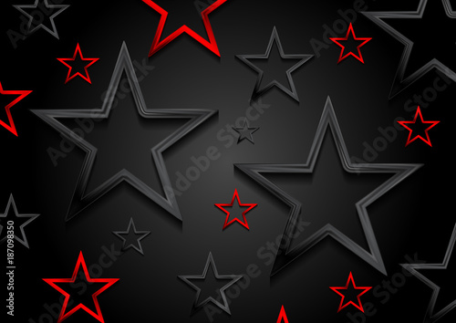 Photo  Glossy red and black shiny stars background