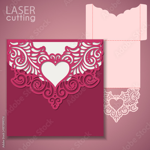 Laser cut wedding invitation or greeting card template vector with a ...