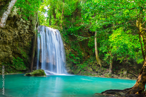 Poster Waterfalls waterfall in the tropical forest where is in Thailand National Park