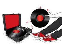 Legs In Sneakers, Turntable And Vinyl Record. Hipster And Music. Vector Illustration For A Postcard Or A Poster, Print For Clothes. Vintage, Retro, Fashion And Style.