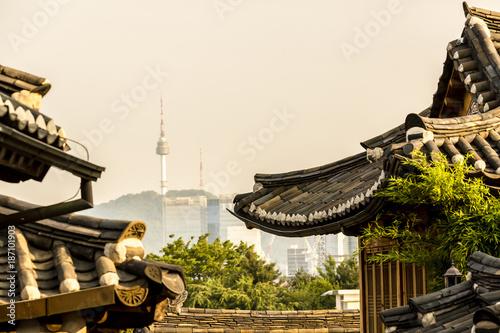 Zdjęcie XXL Widok z wieży Namsan z Bukchon Hanok Village, Seul, Korea Południowa
