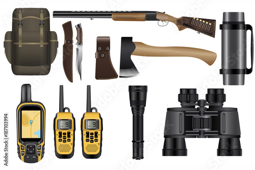 Fotobehang Jacht A set of realistic hunting equipment kit isolated on white: backpack, rifle with cartridges, knife, hatchet, GPS navigator device, walkie-talkie, binoculars, flashlight and thermos.