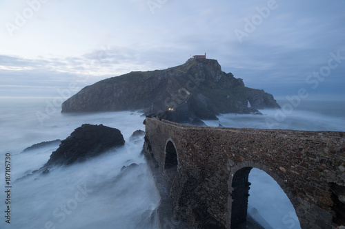 A sunset on the Basque coast, San Juan de Gaztelugatxe, Spain Wallpaper Mural
