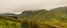 View From Mount Snowdon, Snowdonia, Gwynedd, Wales, UK - Looking North Towards Llyn Padarn And Llanberis, With The Snowdon Mountain Railway
