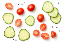 Pepper Cherry Tomatoes With Cucumber Isolated On White Background
