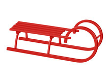 Wooden Canadian Sledge - Red