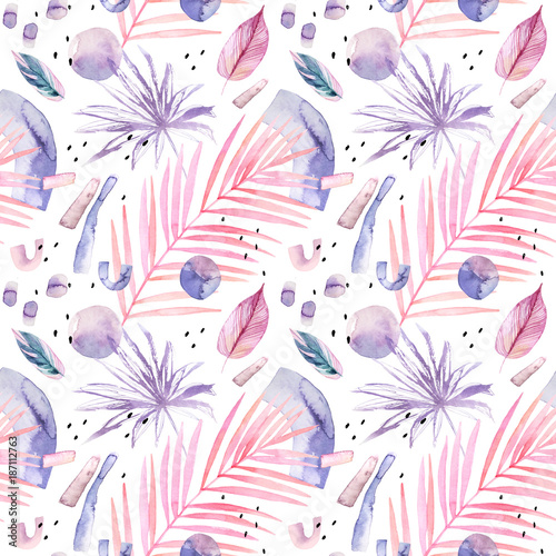 Abstract watercolor background with tropical and geometrical elements