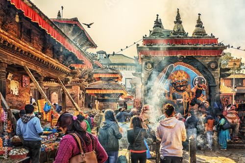 La pose en embrasure Népal Kala Bhairava Temple, Kathmandu, Nepal
