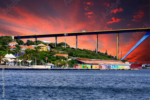 Photo  Sunset Beyond Curacao Bridge