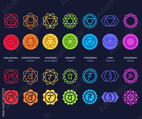 Chakra symbols set on dark background Wall mural