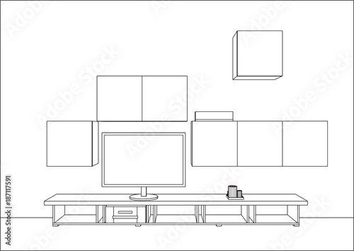 3d Vector Sketch Tv Cabinet And Entertainment Center With Appliances And Decors Modern Living Room Interior Modern Creative Tv Furniture Home Interior Design Software Programs Buy This Stock Vector And Explore