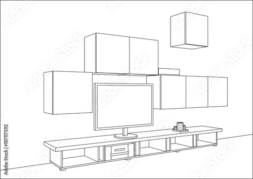 3d Vector Sketch Tv Cabinet And Entertainment Center With Appliances And Decors Modern Living Room Interior Modern Creative Tv Furniture Home Interior Design Software Programs Project Management Buy This Stock Vector