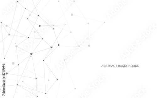 Vector global creative social network. Abstract polygonal background with lines and dots.