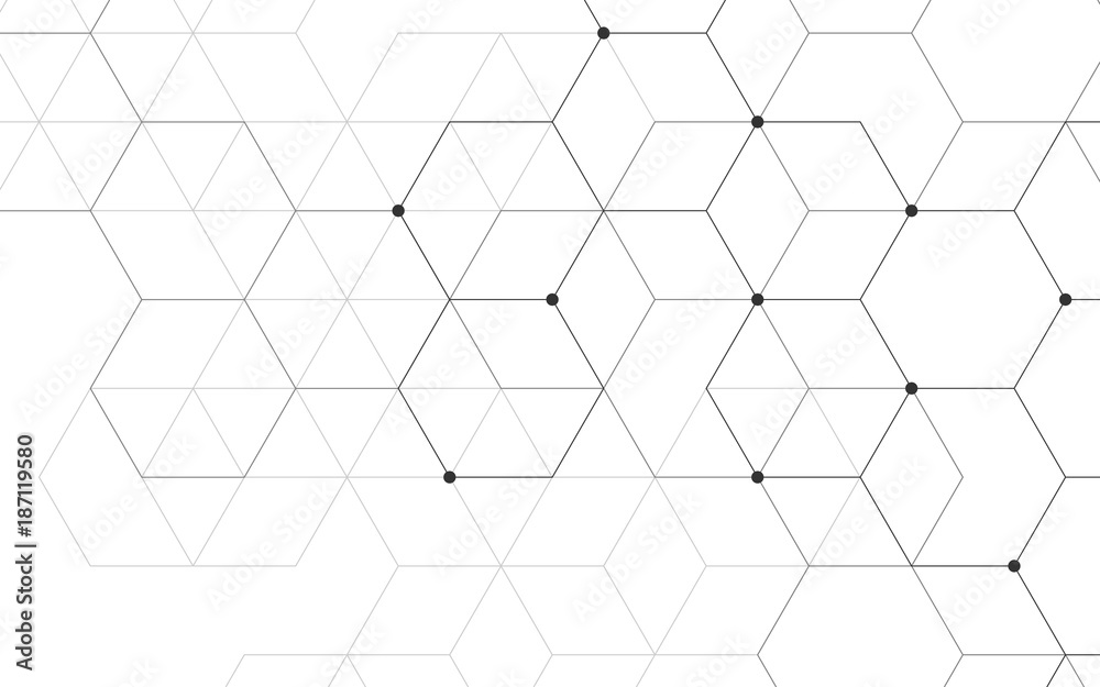 Fototapeta Illustration, hexagonal background. Digital geometric abstraction with lines and dots. Geometric abstract design.