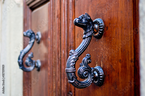 Fotografie, Tablou  dragon-shaped handles of an ancient door