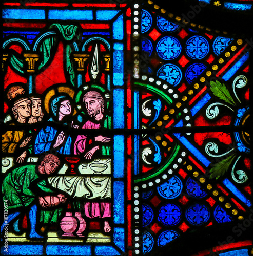 Cuadros en Lienzo Stained Glass - Wedding of Cana